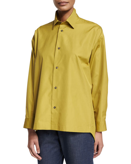 Eskandar Slim-Fit Button-Down Shirt, Dark Olive Oil