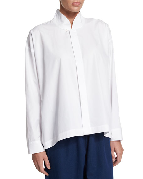 eskandar Long-Sleeve A-Line Imperial Top, White