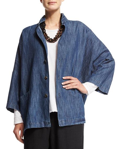 eskandar 3/4-Sleeve Stand-Collar Jacket, Denim