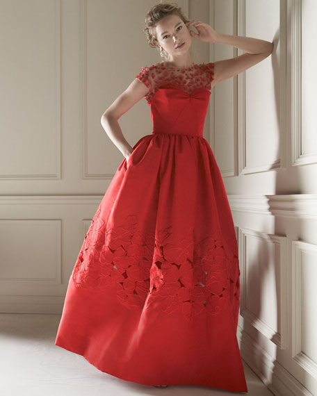 Floral-Embellished Ball Gown, Cardinal
