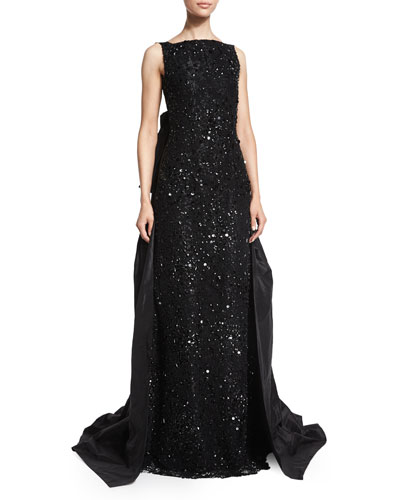 Sleeveless Embellished-Lace Gown, Black