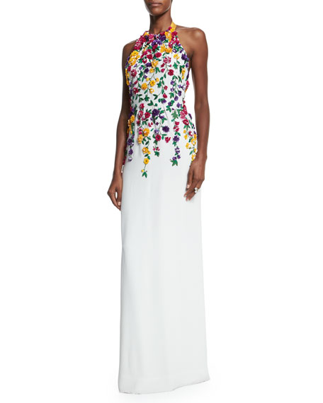 Halter-Neck Floral-Embroidered Gown, White Multi