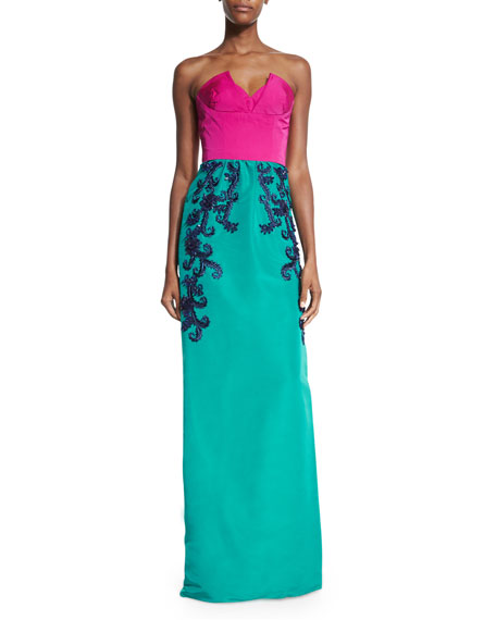 Two-Tone Faille Column Gown, Magenta/Teal