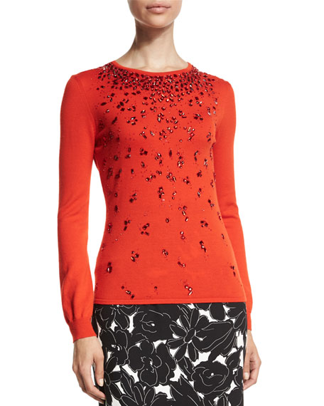 Oscar de la Renta Long-Sleeve Embellished Sweater, Persimmon