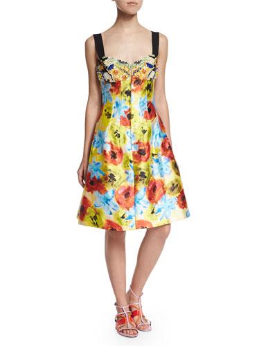 Sleeveless Embellished Floral-Print Dress, Marigold/White
