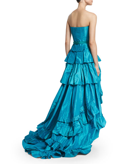 Strapless Tiered-Ruffle High-Low Gown, Aqua