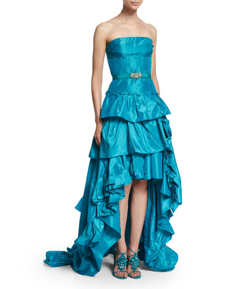 Oscar de la Renta Strapless Tiered-Ruffle High-Low Gown,