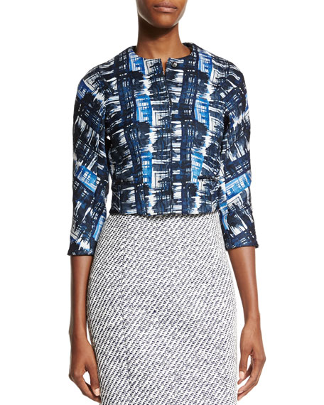 Oscar de la Renta Watercolor Plaid Jacquard Jacket,