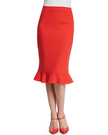 Oscar de la Renta Wool Ruffle-Hem Pencil Skirt, Vermilion