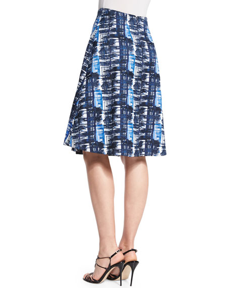 Watercolor Plaid Pleated A-Line Skirt, Marine Blue