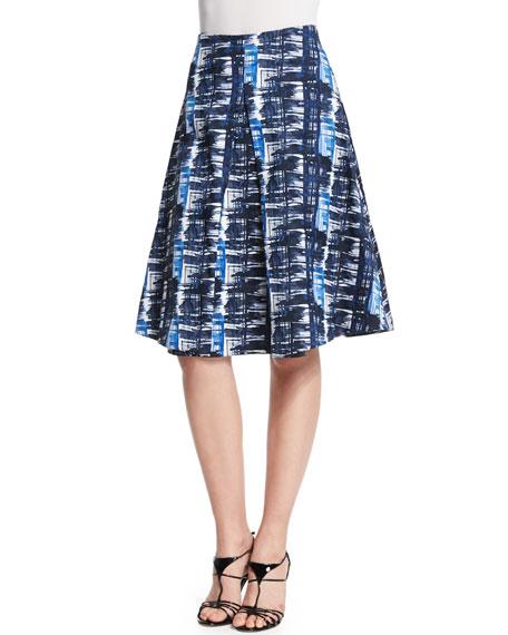Oscar de la Renta Watercolor Plaid Pleated A-Line Skirt, Marine Blue
