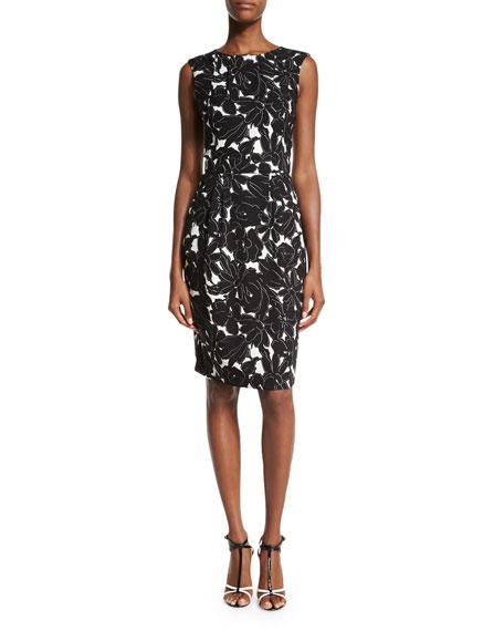 Oscar de la Renta Floral-Print Sleeveless Sheath Dress, Black/White