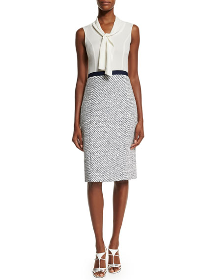 Oscar de la Renta Sleeveless Tie-Neck Combo Sheath Dress, Marine Blue