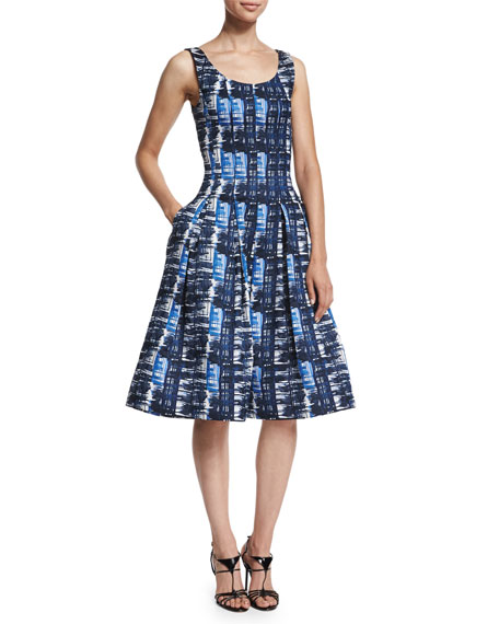 Oscar de la Renta Sleeveless Watercolor-Plaid Dress, Marine