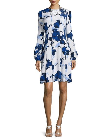 Oscar de la Renta Watercolor-Print Fit-&-Flare Dress, Marine