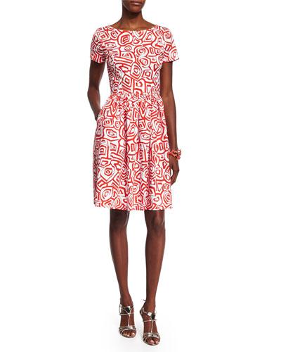 Short-Sleeve Printed Dress, Persimmon