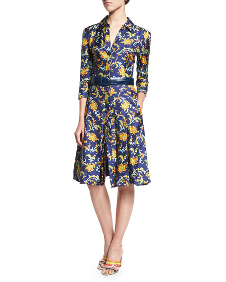 Oscar de la Renta 3/4-Sleeve Printed Shirtdress, Marine