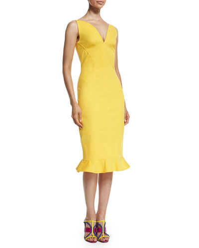 Sleeveless V-Neck Flounce-Hem Dress, Marigold