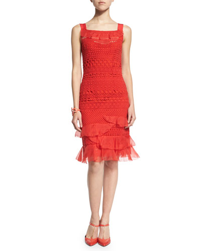 Oscar de la Renta Sleeveless Banded-Lace Dress, Vermillion