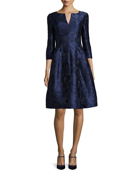 Oscar de la Renta 3/4-Sleeve Floral-Embroidered Dress, Marine