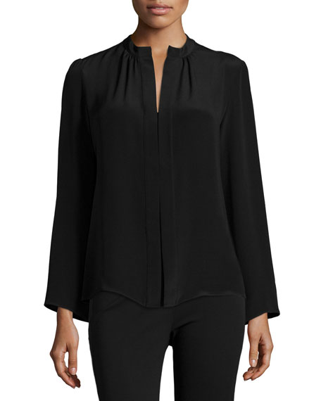 Long-Sleeve Slim-Fit Blouse, Black