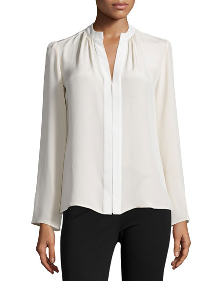 Derek Lam Long-Sleeve Slim-Fit Blouse, Muslin/Ivory