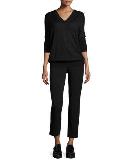 3/4-Sleeve V-Neck Sweater, Black