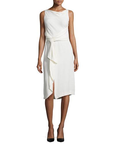 Sleeveless Sheath Dress W/Ruffle, Chalk