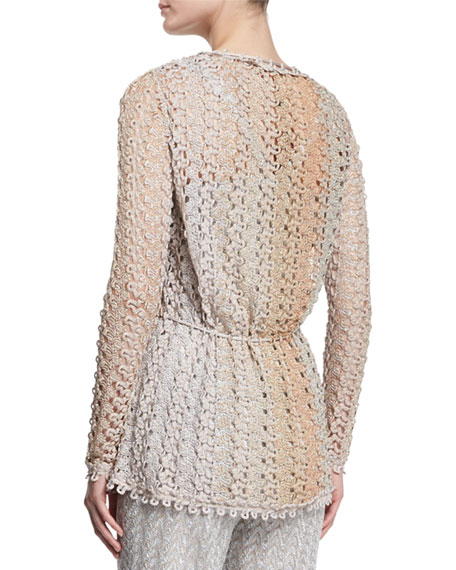 Missoni Scalloped-Lace Cardigan, Gold/Blush/Silver