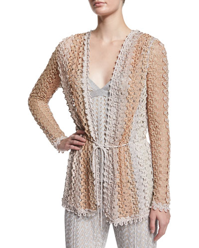Scalloped-Lace Cardigan, Gold/Blush/Silver