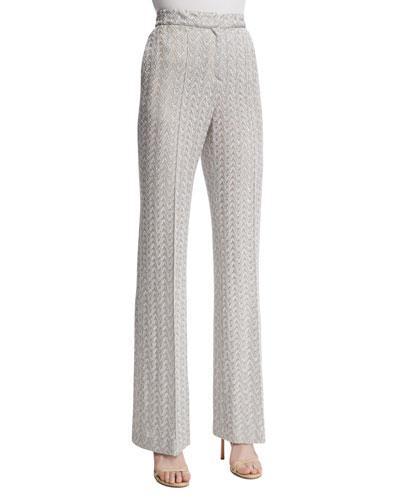 High-Waist Flare-Leg Pants, Silver Colorway