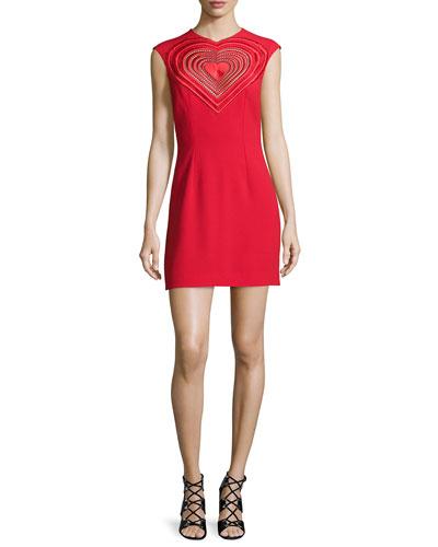 Sleeveless Embroidered-Heart Sheath Dress, Red