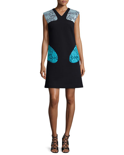 Sleeveless Lace-Inset Scuba Dress, Black
