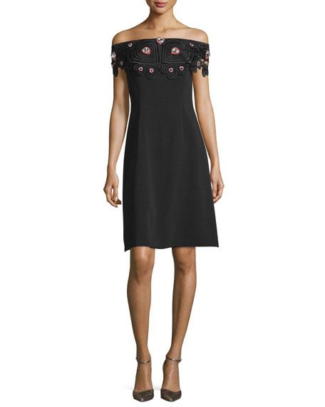Christopher Kane Off-The-Shoulder Embellished Dress, Black