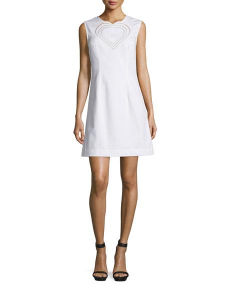 Christopher Kane Sleeveless Heart Sheath Dress, White