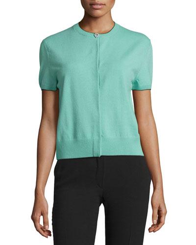Short-Sleeve Rhinestone-Button Cardigan, Mint/Black