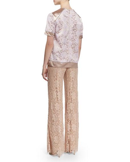 Short-Sleeve Combo Tunic Blouse, Mint
