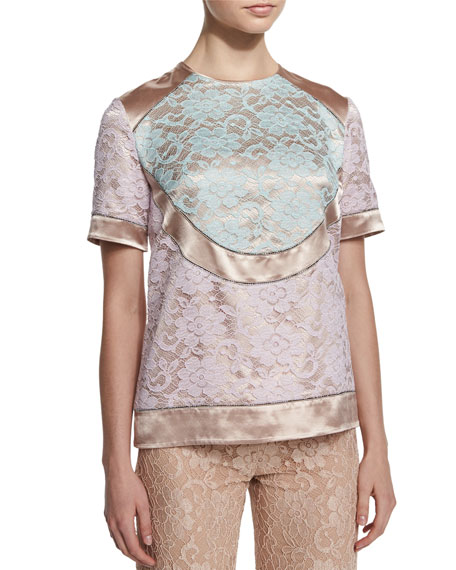 Christopher Kane Short-Sleeve Combo Tunic Blouse & High-Waist
