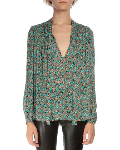 Saint Laurent Long-Sleeve Tie-Neck Blouse, Multi Colors