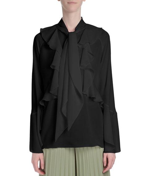 Givenchy Long-Sleeve Romantic-Ruffle Blouse, Black