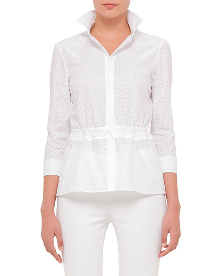 Akris punto 3/4-Sleeve Perforated Blouse, White