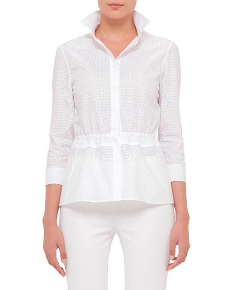Akris punto 3/4-Sleeve Perforated Blouse, White