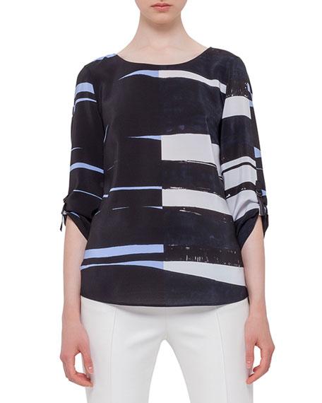 Akris punto 3/4-Sleeve Round-Neck Blouse, Multi Colors