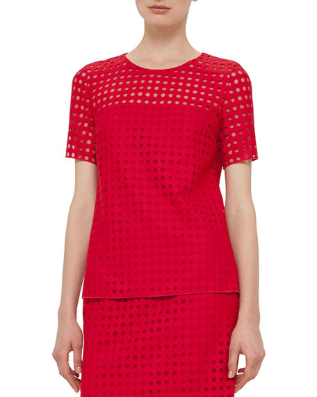 Akris punto Short-Sleeve Circle-Embroidered Blouse, Sport Red