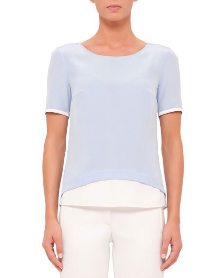 Akris punto Short-Sleeve Contrast-Trim Blouse, Sky Blue/Cream