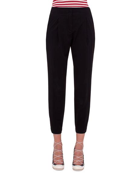 Akris punto Mimi Cropped Pants W/Elastic Cuffs, Black