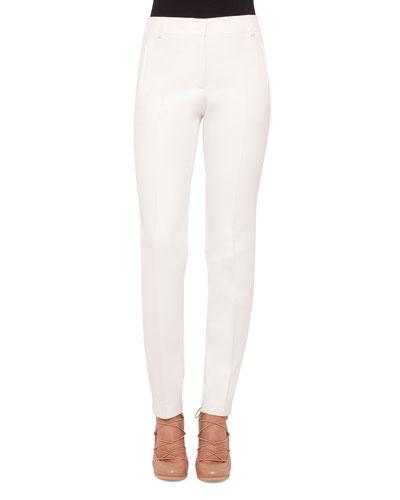 Straight-Leg Front-Zip Pants, Cream