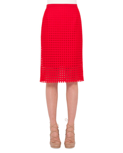 Circle-Embroidered Pencil Skirt, Sport Red