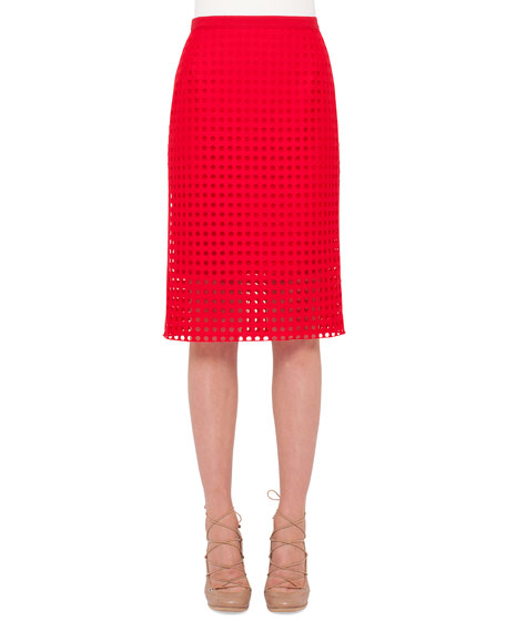 Akris punto Circle-Embroidered Pencil Skirt, Sport Red