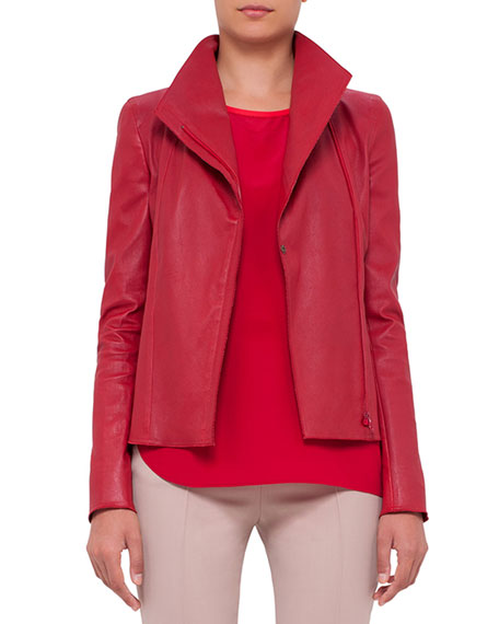 Akris punto Asymmetric-Zip Leather Jacket, Cherry